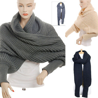 Scarf Sleeve Knit Solid Color Long Sleeve Stretch Wraparound Style Versatile New