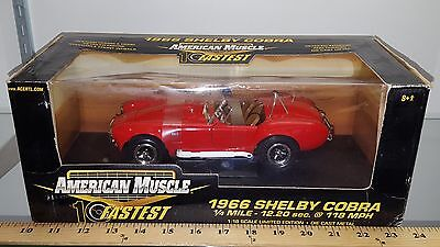 1/18 ERTL AMERICAN MUSCLE 10 FASTEST 1966 SHELBY COBRA RED yd
