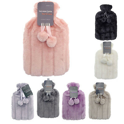 Hot Water Bottles with Pom Poms & Luxury Faux Fur