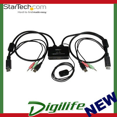 STARTECH 2 Port USB DisplayPort Cable KVM Switch w/ Audio and Remote Switch