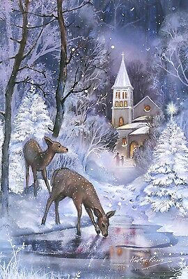 NEW LARGE TOLAND ICY WINTER FLAG FROZEN FAWNS PEACEFUL DEER & CHURCH 28 x 40