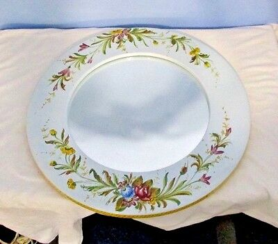 "MIRROR Hand Painted PORCELAIN Italy ROUND 16"" Floral Flowers"