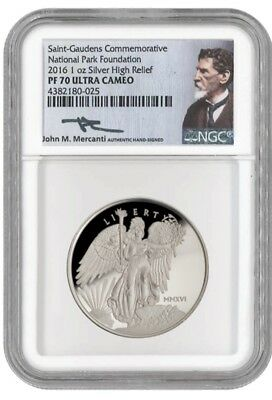 2016 Winged Liberty Silver High Relief Proof Saint Gaudens NGC PF70 Mercanti OGP