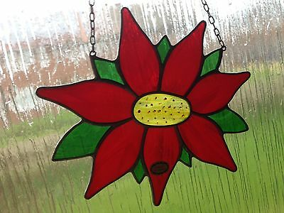 Vintage 1980's Stained Glass Flower Suncatcher Window Hanging, Handmade Germany