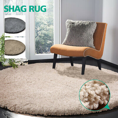 Round Shag Shaggy Floor Rug Luxury Soft Plush Thick non-skid backing Three Color