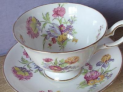 Antique 1950's Royal Chelsea England Flower Bouquet bone china tea cup teacup