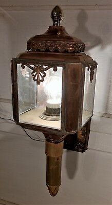 Vintage Copper and Brass Exterior Sconce Light Fixture