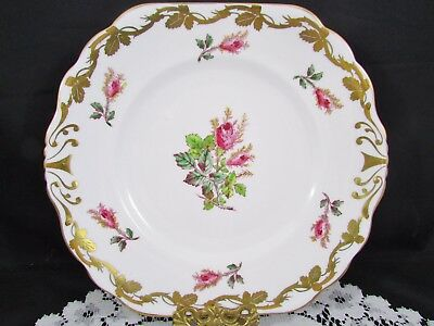 Royal Chelsea Moss Rose Hand Painted Gold Gilt Cake Serving Plate