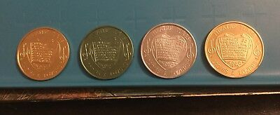4 Tokens Coins Theatre Tunes Ladies & Lovers Knights of Columbus 1975 K of C