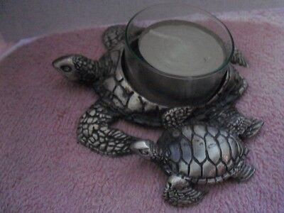 "Metal Silver Tone Turtles Candle Holder - 4"" Animal - Forever Kauai"