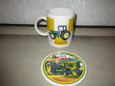 John Deere Coffee Cup W/Coaster Nothing Runs Like a Deere! Collectible
