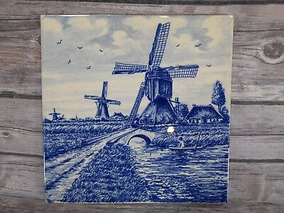 "Delft Blauw (blue) Hand-painted Windmill Scene Made in Holland Dutch 6"" Tile"
