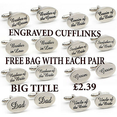 Silver Plated Engraved Personalised Gift Wedding Cufflinks Cuff Links Best Man