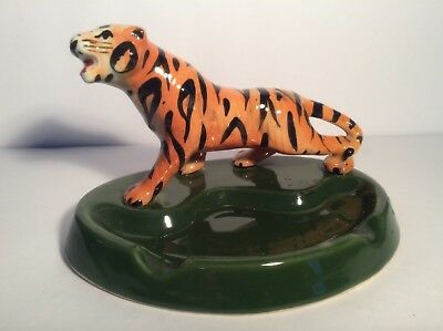 """Vintage  Bengal Tiger Porcelain Ashtray Green 7"""" inches"""