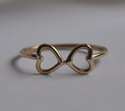 Solid 9Ct 9K Yellow Gold Twin Heart Ring Handmade Size L