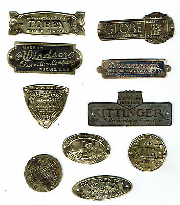 10 Antique Vintage Brass Furniture Name Plates