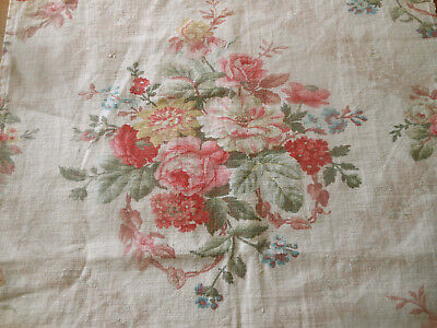 Antique French Time Softened Shabby Roses Floral Cotton Fabric ~ Pink Red Yellow