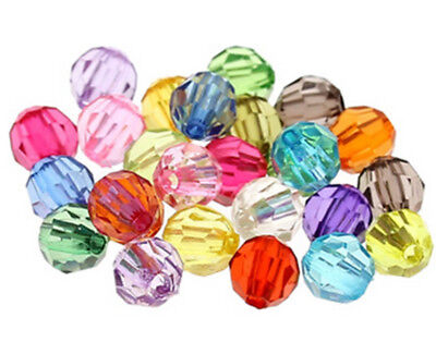 6mm 8mm 10mm  Mixed Color Acrylic Faceted Round Spacer Beads Jewelry Making