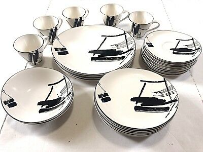 27 Pieces 1986  Sango Calligraphy The Larry Laslo Collection Dinner Set