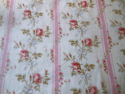 Antique French Shabby Roses & Ribbon Cotton Fabric ~ Pink Red Olive Gray