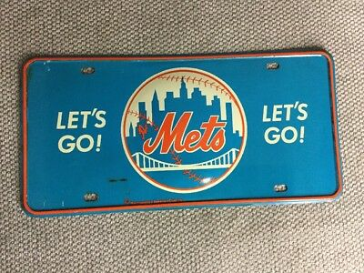 Vintage 1970's Lets Go Mets New York Mets License Plate