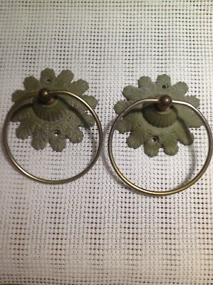 Vintage Metal Bathroom Set of two Green Kitchen Towel Hook Towel Holder Ornate