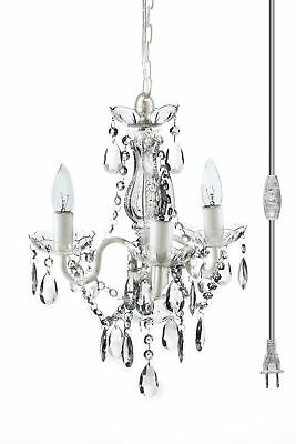"""The Original Gypsy Color 3 Light Mini Plug-in Crystal Chandelier for H16"""" W13"""","""