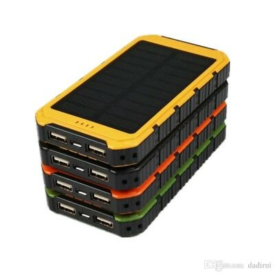 100000mAh Solar Power Bank 2USB Battery Portable Charger for Phone iPad GoPro UK