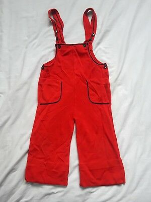 Vintage 70s childrens red acrylic overalls - Size 4T - VTG 1970s