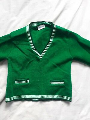 "Vintage childrens v-neck green sweater - VTG 70s shirts ""Mannekins"" brand"