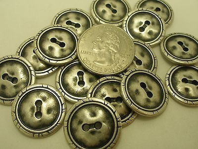 New Lot of 12 Antique Silver Hammered Metal Buttons 7/16 5/8 11/16 13/16  (#S15)