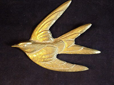 "SOLID BRASS FLYING BIRD WALL HANGING FIGURINE 4.5"" Long by 4"" Tall NICE!"