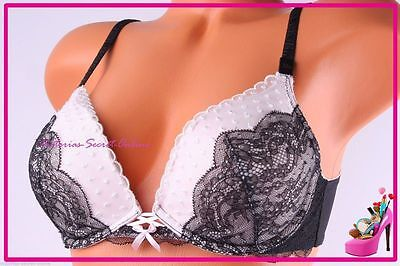 85deef255a NWT Victoria s Secret Bra Dream Angels Push Up Floral Lace Black White 32C