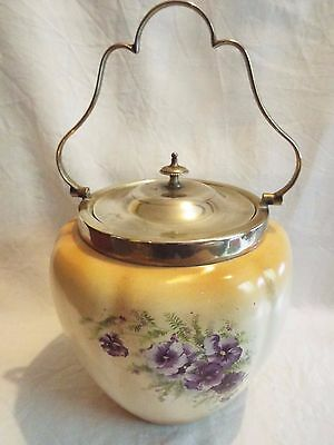 Vintage 1930's Crown Devon Fieldings China Biscuit Barrel Violets Pansies