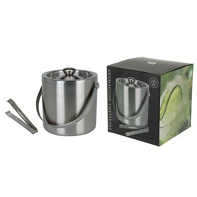 Stainless Steel Insulated Ice Bucket With Tongs Lid 1.5Ltr