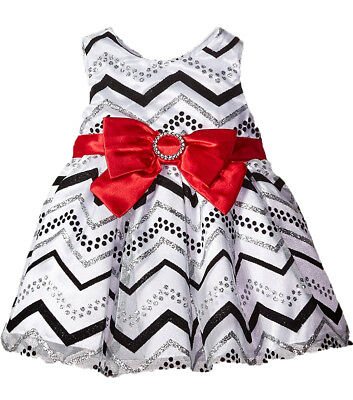 Youngland Baby Girls' Gorgeous Chevron Silver Glitter Red Bow Dress, 18 months