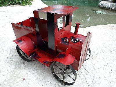"""Large 18"""" Recycled Distressed Metal Vintage Look Truck Ford Texas Red"""