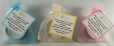 Baby Shower Candle Tea Light Favours Stork Blue Pink Yellow Guest Thank You