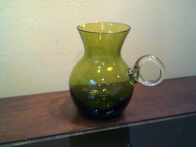 Vintage Hand Blown Green Glass Creamer with Clear Round Handle