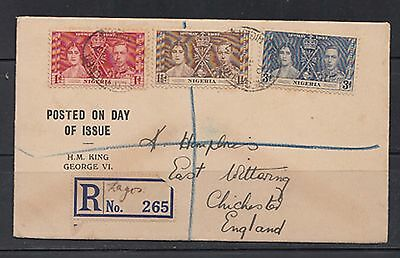 nigeria coronation complete set of stamps on cover 1937         a49.11