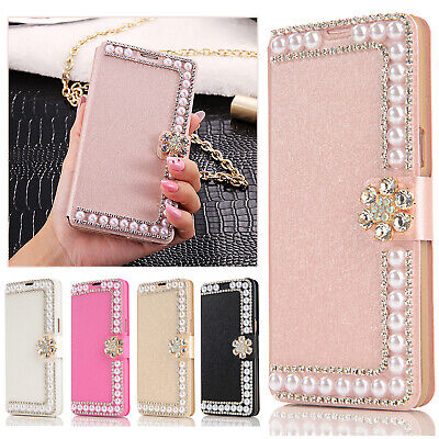 Luxury Pearl Bling Diamond Flip Card Wallet Case Cover For Samsung Galaxy Phones