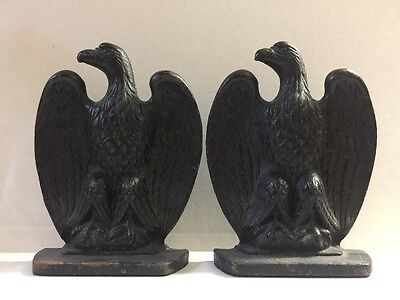 Vintage Pair of American Bald Eagle Heavy Black Cast Iron Bookends