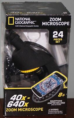 National Geographic Zoom Microscope 40x-640x w/ Smartphone Adapter (New in Box)