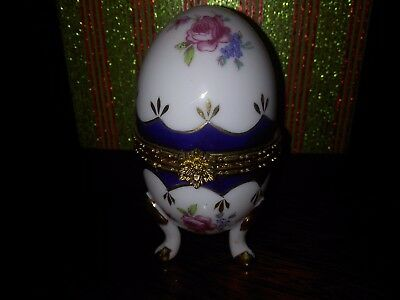 Faberge Inspired Floral and Goldtone  Easter Egg