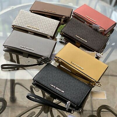 Michael Kors Leather Or Pvc Jet Set Travel Double Zip Wallet Wristlet Many Color