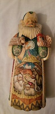 G. Debrekht Village Nativity Scene Santa hand carved/painted