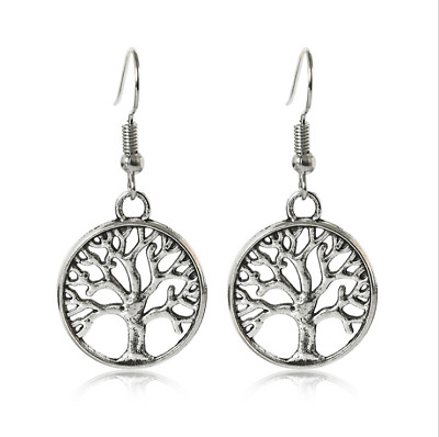 Pair of Antique Silver/Bronze Alloy Dangle Tree Of Life Celtic Earrings