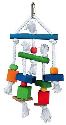 """Colourful Wooden Bird Toy on Rope for Cockatiels Budgies 24cm (10"""")"""