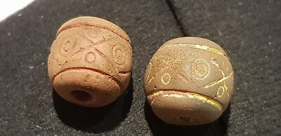 Exquisite Ancient Byzantine/Islamic pair of beads very wearable Artifact L29g