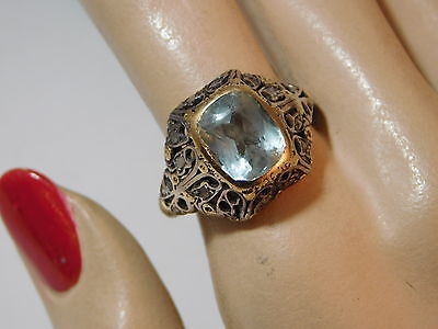Old Vintage Sterling Silver Yellow Gold Aquamarine Filigree sz 10 Ring 10h 78